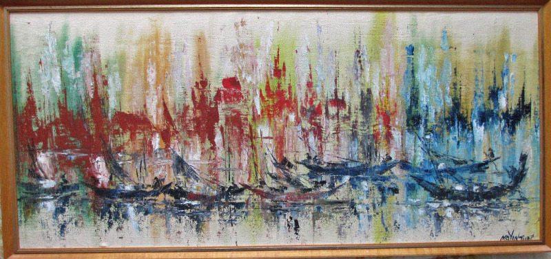 Aberdeen Harbour Hong Kong oil on canvas signed  Mg Yin Tun c1960.