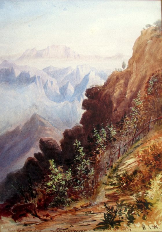 Near Arthurs Seat, watercolour, signed H.J.W. 1879.