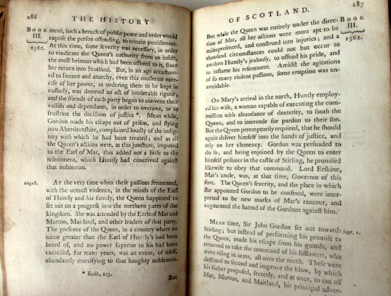 The History of Scotland, William Robertson, Vol I 1769.