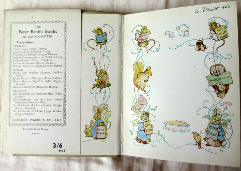 Beatrix Potter 5 volumes. 3 vols with DJ's. Owner's name and date.