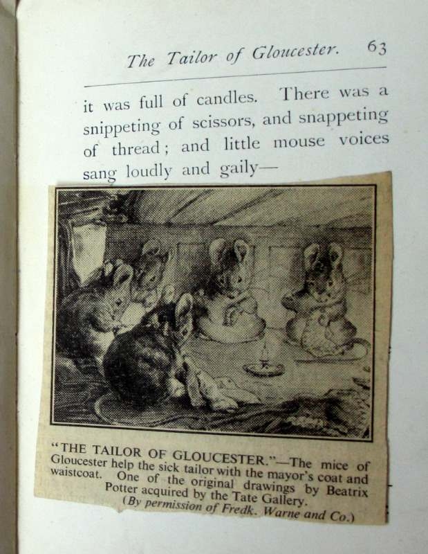 Beatrix Potter 5 volumes. 3 vols with DJ's. Newspaper cutting with same image.