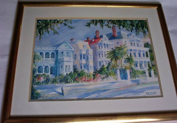 Betty Schwark, South Battery Charleston SC, Limited Edition Lithograph 1991. Signed Betty Schwark.