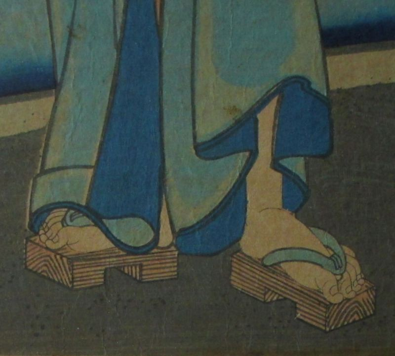 Genji and Women Catching Fireflies, woodblock print on paper, Toyohara Kunichika, 1861. Detail. Feet.