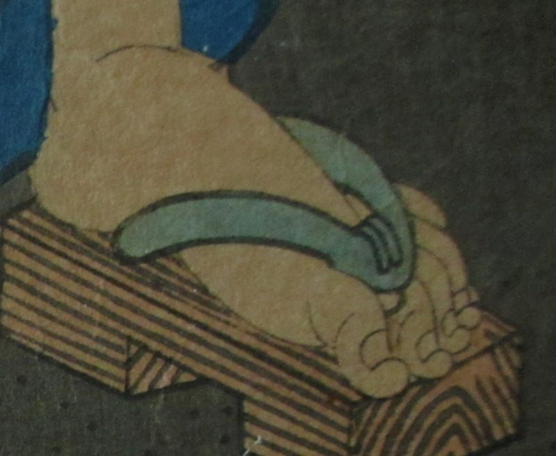 Genji and Women Catching Fireflies, woodblock print on paper, Toyohara Kunichika, 1861. Detail.