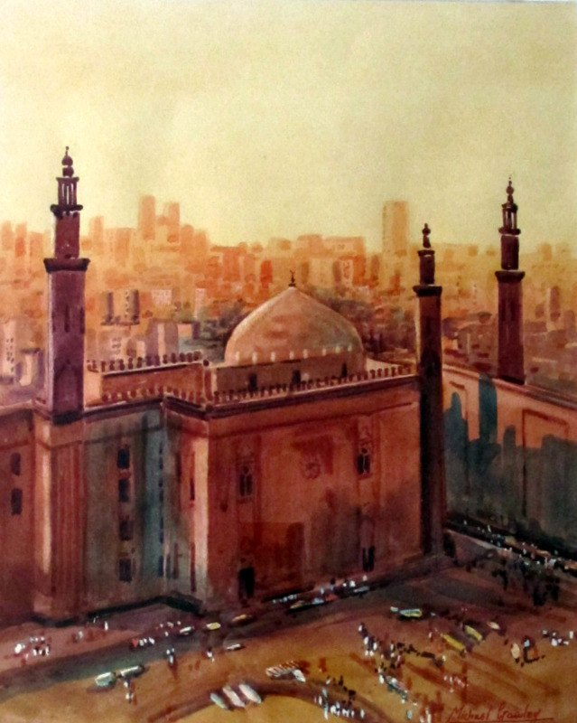 Sultan Hassan Mosque and Madrassa Cairo, watercolour, signed MIchael Crawley c1985.
