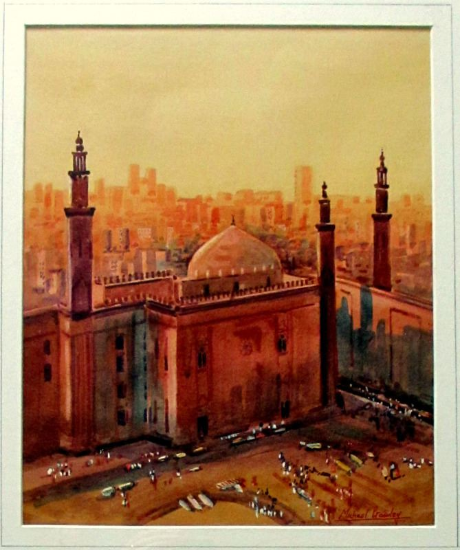 Sultan Hassan Mosque and Madrassa Cairo, watercolour, signed MIchael Crawley c1985. Detail.