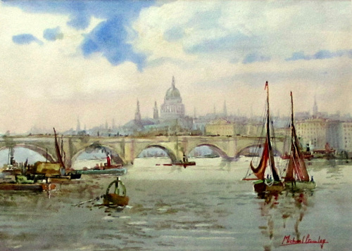 London Bridge, River Thames and St Pauls, watercolour, signed Michael Crawl