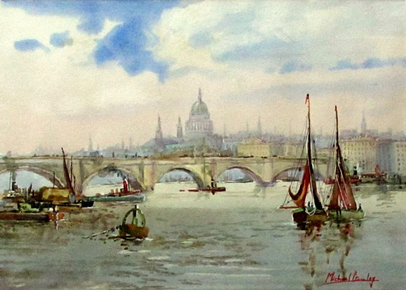 London Bridge, St. Pauls and River Thames, watercolour, signed Michael Crawley. c1967.