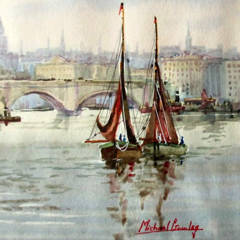 London Bridge, St. Pauls and River Thames, watercolour, signed Michael Crawley. c1967. Detail.