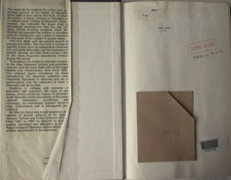 Education Since 1800, Unwin Education Books, Ivor Morrish, 1970. Detail.