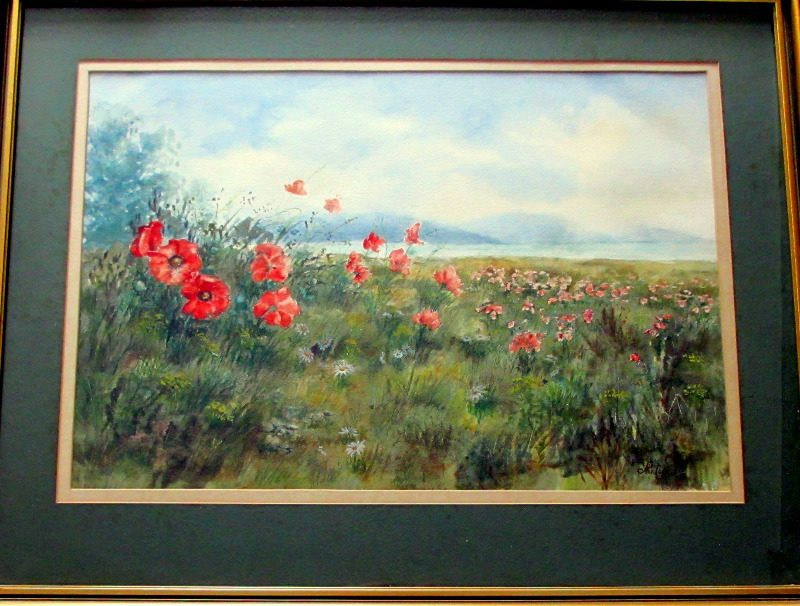 The Poppy Field Sussex watercolour signed Philip Watts c1970.