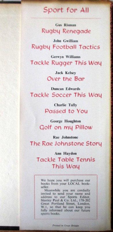 King of Rugger Lewis Jones 1958 1st Edition. DJ back. Fold.