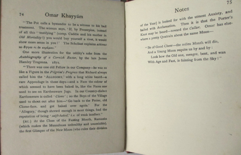 Rubaiyat of Omar Khayyam, Edward Fitzgerald, Sixpenny Edition, MacMillan, 4th Edn Reprint 1911. Detail.