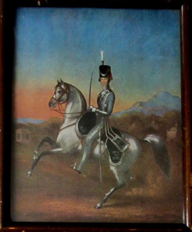An Officer of the 6th Bengal Light Cavalry, 1856, Litho, framed, c1930.