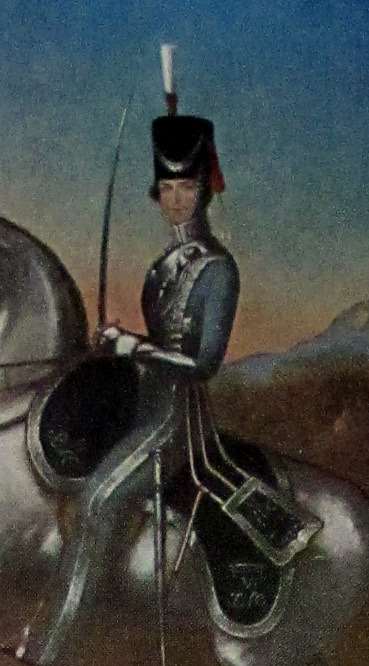 An Officer of the 6th Bengal Light Cavalry, 1856, Litho, Framed original, c1930. Detail.