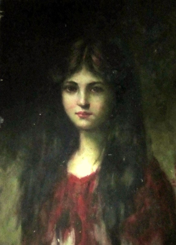 Portrait of a Young Lady, oil on board, unsigned . c1960.