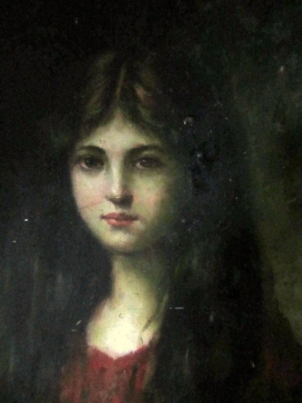 Portrait of a Young Lady, oil on board, unsigned . c1960. Detail.