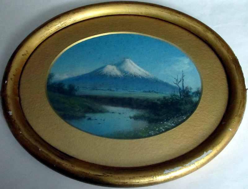 Fujiyama gouache on card, no visible signature, c1930.