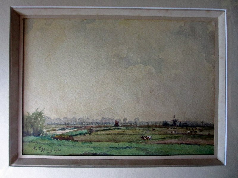 Suffolk Landscape, watercolour and gouache, signed  K. Tipping 1921. Framed.