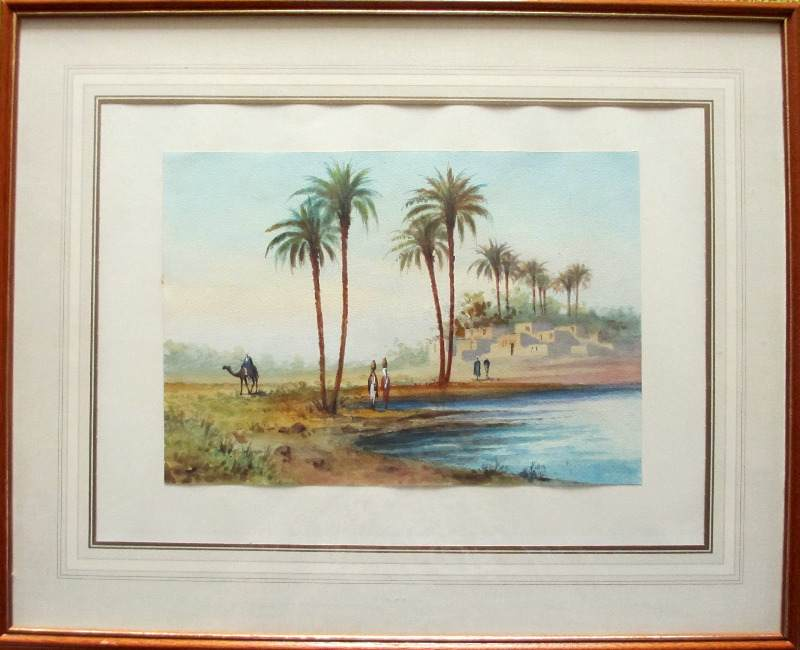 Orientalist Study, Figures by the Water, Egypt, watercolour, signed A. Marchettini, c1890.