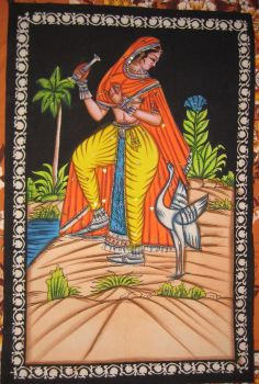Rajasthani nautch girl, print on cotton, hand-finish. Traditional, ethnic.