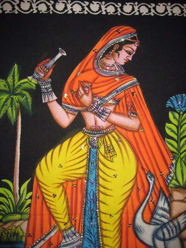 Rajasthani nautch girl print on cotton