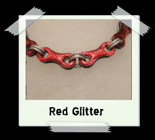Bicycle Chain Bracelet - Red Glitter