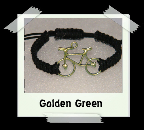 Enamelled Woven Bracelet - Golden Green
