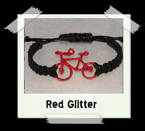 Enamelled Woven Bracelet - Red Glitter