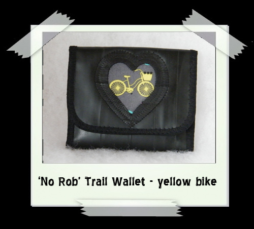 'No Rob' Trail Wallet - yellow bike