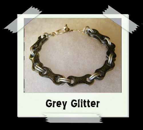 Bicycle Chain Bracelet - Grey Glitter
