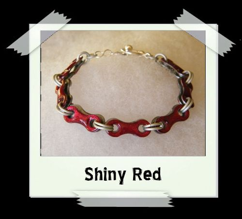 Bicycle Chain Bracelet - Shiny Red