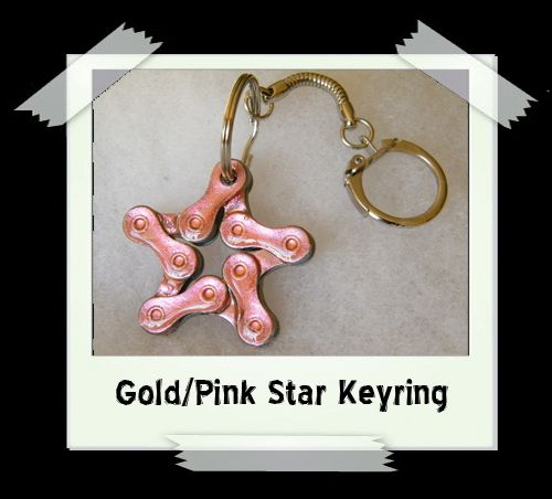 Key Ring - Gold/Pink Star