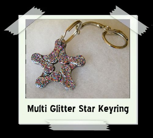 Key Ring - Multi Glitter Star