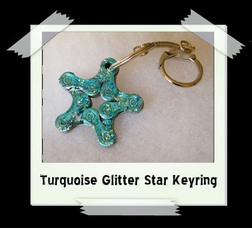 Key Ring - Turquoise Glitter Star