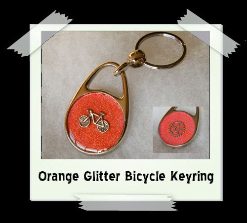 Key Ring - Orange Glitter Bicycle