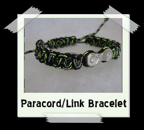 Paracord/Link Bracelet  Black/Green