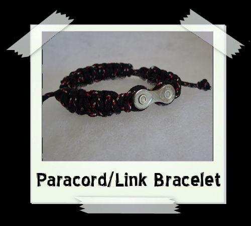 Paracord/Link Bracelet  Black/Red