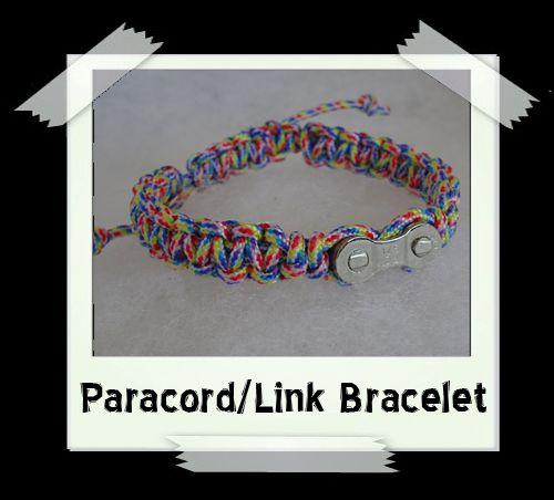 Paracord/Link Bracelet  Rainbow