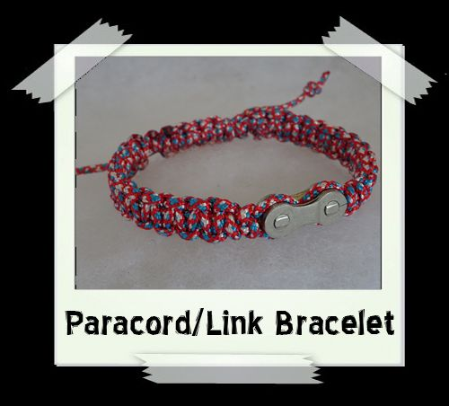 Paracord/Link Bracelet  Red/White