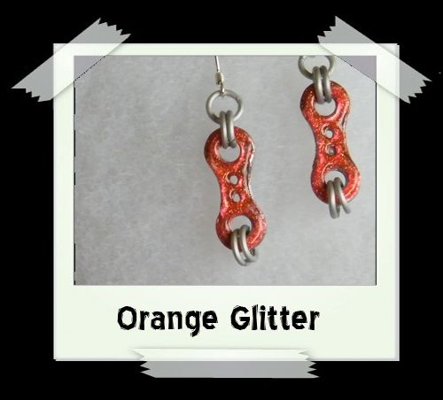 Bike Chain Earrings - Orange Glitter