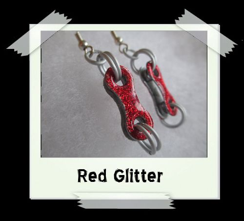 Bike Chain Earrings - Red Glitter