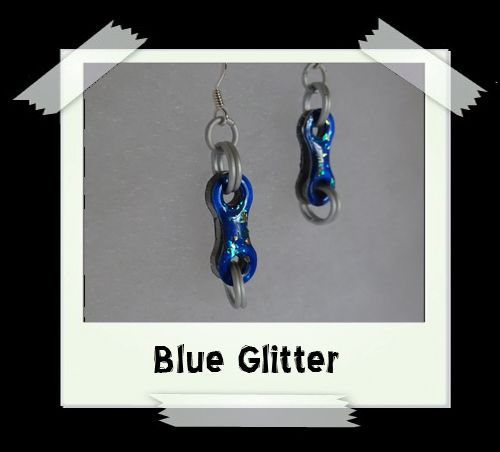 Bike Chain Earrings - Blue Glitter