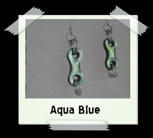 Bike Chain Earrings - Aqua Blue