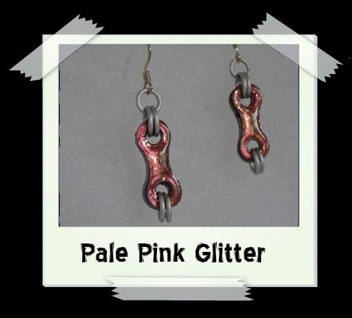 Bike Chain Earrings - Pale Pink Glitter