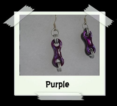 Bike Chain Earrings - Purple
