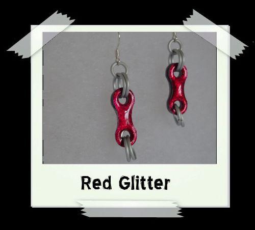 Bike Chain Earrings - Red Glitter