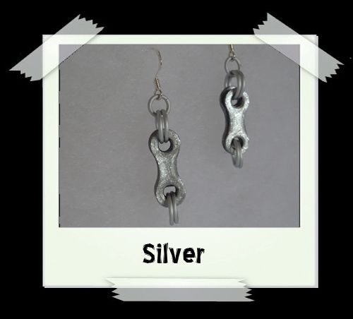 Bike Chain Earrings - Silver