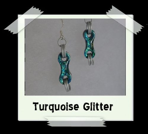 Bike Chain Earrings - Turquoise Glitter
