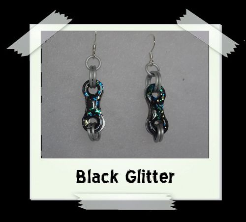 Bike Chain Earrings - Black Glitter
